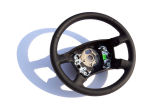 Fabia I 99-04 - unique 4-spoke steering wheel FULL PERFORATED LEATHER / BLUE STITCHING Click to view details.