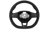 Superb II FL original Skoda perforated leather 3-spoke RS steering wheel - 2015 flat bottom version Click to view details.