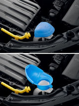 Fabia III - genuine Skoda Integrated funnel in the lid of the windscreen washer tank Click to view details.